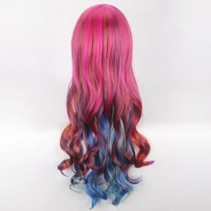 Colorful Long Side Bang Wavy Cosplay Lolita Synthetic Wig -