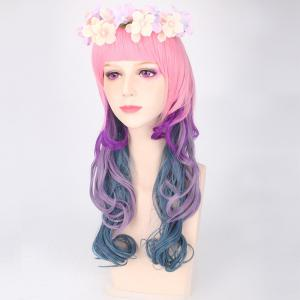 Colored Long Full Bang Layered Wavy Cosplay Synthetic Wig -