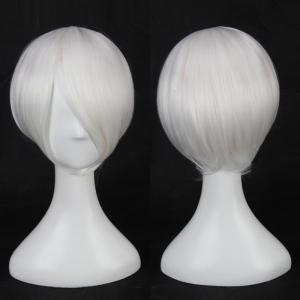 Multicolor Short Side Bang Straight Cosplay Synthetic Wig - White