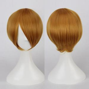 Short Side Bang Straight Cosplay Synthetic Wig - Marigold - One Size