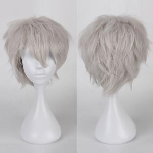 Multicolor Short Side Bang Fluffy Straight Cosplay Synthetic Wig - Silver White
