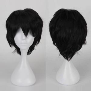 Multicolor Short Side Bang Fluffy Straight Cosplay Synthetic Wig - Black - 24inch