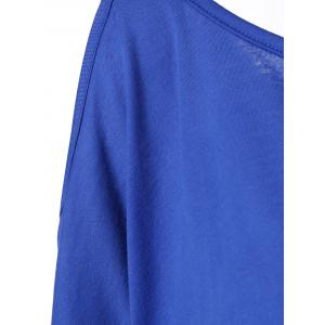 Convertible Batwing Sleeve T-Shirt - BLUE XL