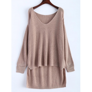 V Neck High Low Oversized Pullover Sweater - Khaki - One Size