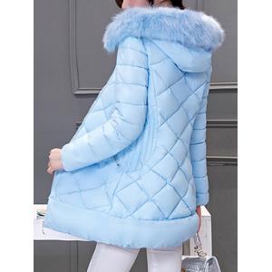 Long Hooded Puffer Coat With Fur Trim -