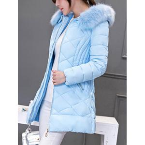 Long Hooded Puffer Coat With Fur Trim - AZURE 3XL