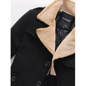 Epaulet Design Quilted Lining Pocket Woolen Jacket - BLACK 2XL
