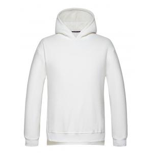 High Low Side Split Pullover Hoodie - White - L