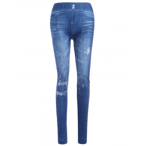 Slim Ripped Imitation Jean Leggings