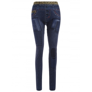 Slim Leopard Pattern Insert Imitation Jean Leggings
