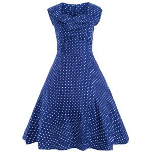 Audrey Hepburn Style Tiny Polka Dot Pattern Skater Dress - Blue - Xl