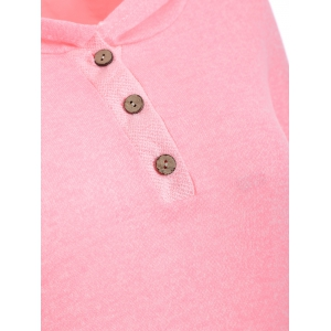Half Button Hoodie With Pocket -