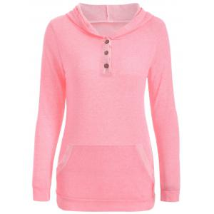 Half Button Hoodie With Pocket - Pink - S