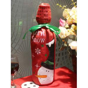 Merry Christmas Snowman Wine Bottle Cover Bag Table Decoration - Red - S