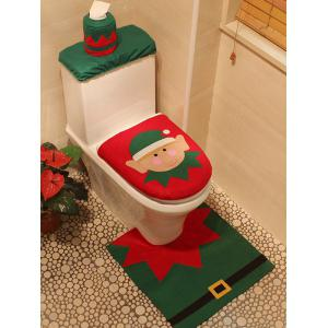 3PCS Christmas Supplies Bathroom Toilet Closestool Cover Floor Mats