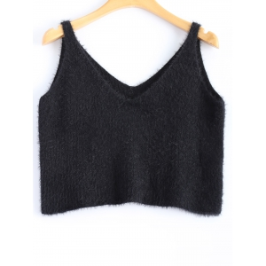 V Neck Fuzzy Knitwear - Black - One Size
