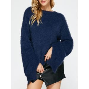 Slit Sleeve Fuzzy Sweater