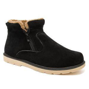Suede Double Zips Ankle Boots - Black - 42