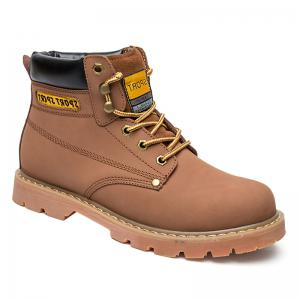 Eyelet Stitching Leather Work Boots - Light Brown - 43