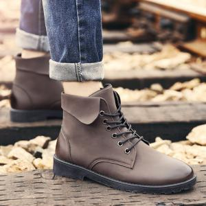 Lace Up Eyelet Fold Down Combat Boots -