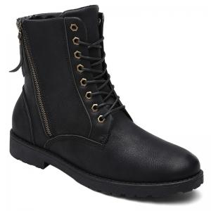 PU Leather Eyelet Side Zip Combat Boots