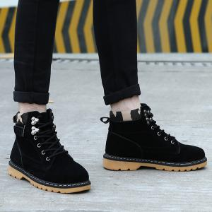 Metal Eyelet Lace Up Suede Short Boots - BLACK 43
