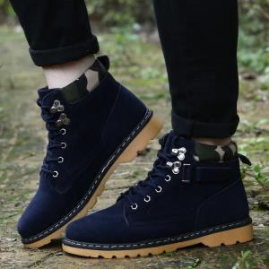 Metal Eyelet Lace Up Suede Short Boots - BLUE 44