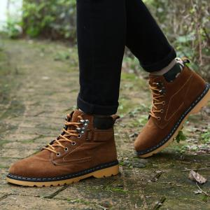 Metal Eyelet Lace Up Suede Short Boots - BROWN 44