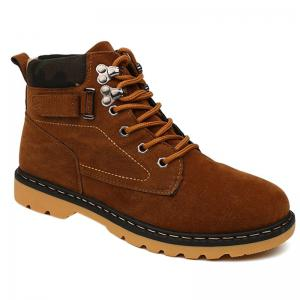 Metal Eyelet Lace Up Suede Short Boots - Brown - 40