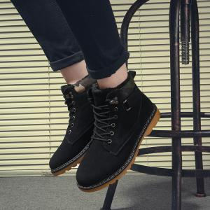 Eyelet Lace Up Suede Short Boots - BLACK 42