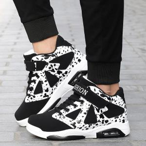 Colour Block High Top Athletic Shoes - WHITE AND BLACK 44