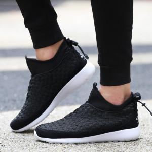 Suede Spliced Weaving Slip On Athletic Shoes - BLACK 43