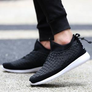 Suede Spliced Weaving Slip On Athletic Shoes -