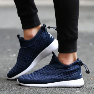 Suede Spliced Weaving Slip On Athletic Shoes - DEEP BLUE 44