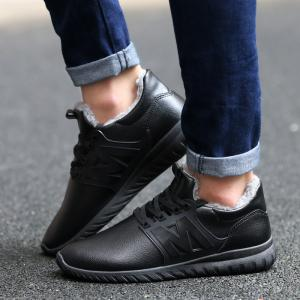 Fuzzy PU Leather Casual Shoes - BLACK 43