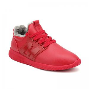 Fuzzy PU Leather Casual Shoes - Red - 43