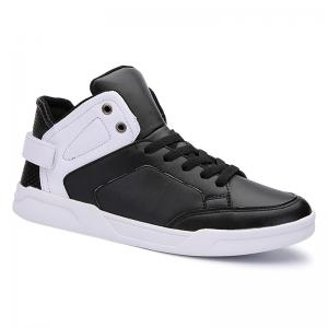 High Top PU Leather Skate Shoes - White And Black - 40