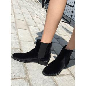 Elastic Band Splicing Flat Heel Ankle Boots -