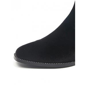 Elastic Band Splicing Flat Heel Ankle Boots - BLACK 39