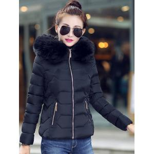 Faux Fur Hooded Padded Jacket -