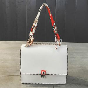 Chain Covered Closure Scarves Crossbody Bag - WHITE