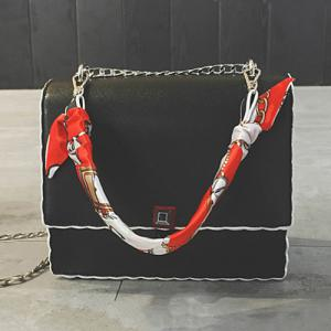 Chain Covered Closure Scarves Crossbody Bag