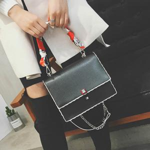 Chain Covered Closure Scarves Crossbody Bag - BLACK