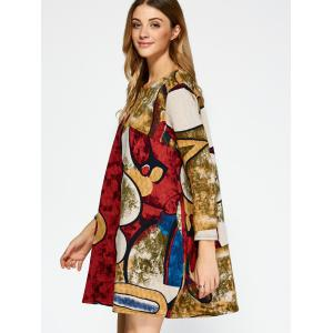Ornate Printed Pocket Design Dress - RED XL