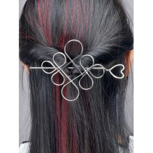 Hollow Out Chinese Knot Hairpin - Silver
