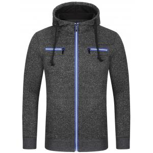 Pocket Drawstring Zip Up Hoodie