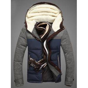 Color Block Spliced Design Zip Up Flocking Quilted Jacket