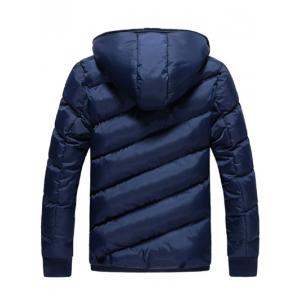 Oblique Spliced Design Zip Up Quilted Jacket -