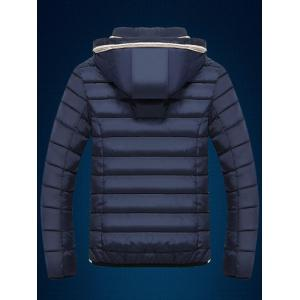Color Block Edging Design Zip Up Quilted Jacket -