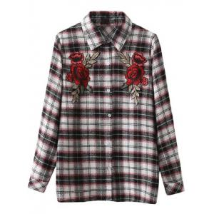 Floral Embroidered Patched Tartan Shirt
